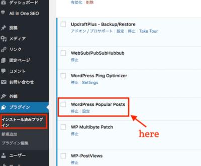 【Wordpress Popular Posts】を[有効化]