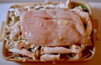 塩麹でふわふわチキン野菜たっぷりのグリラー焼き2