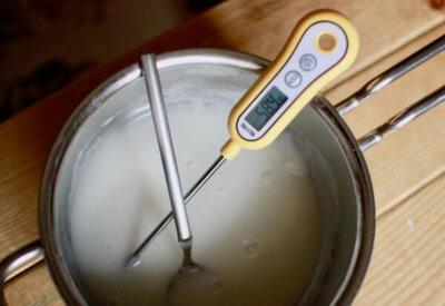 トロトロのお餅の温度を測る