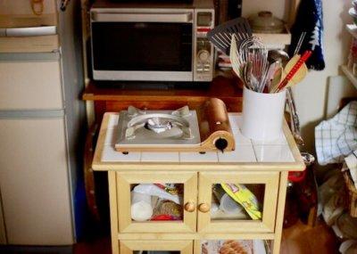 キッチンワゴンの上にカセットコンロを置いてみた